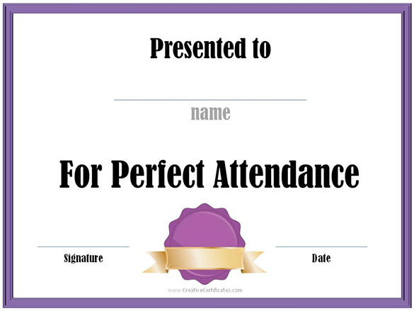 Attendance Certificate Template – Free Printable Perfect Attendance Certificate