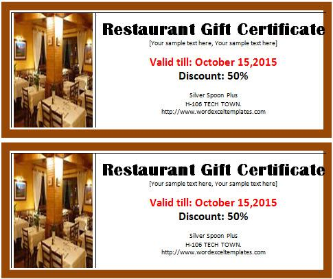 Create Free Restaurant Gift Certificate Restaurant Template