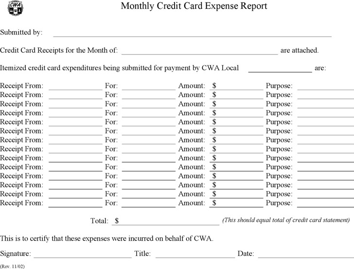 Credit Card Expense Report Template