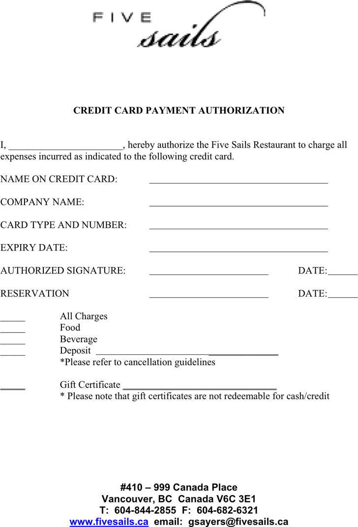 Credit Card Payment Authorization Template | Download Free