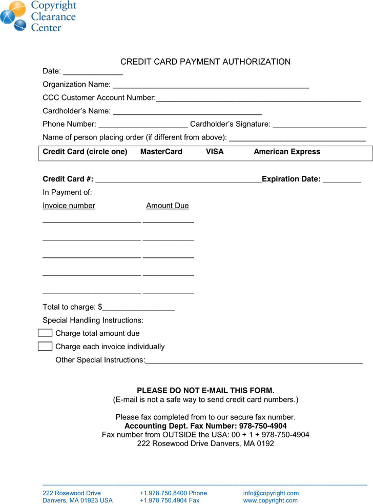 credit card payment form template