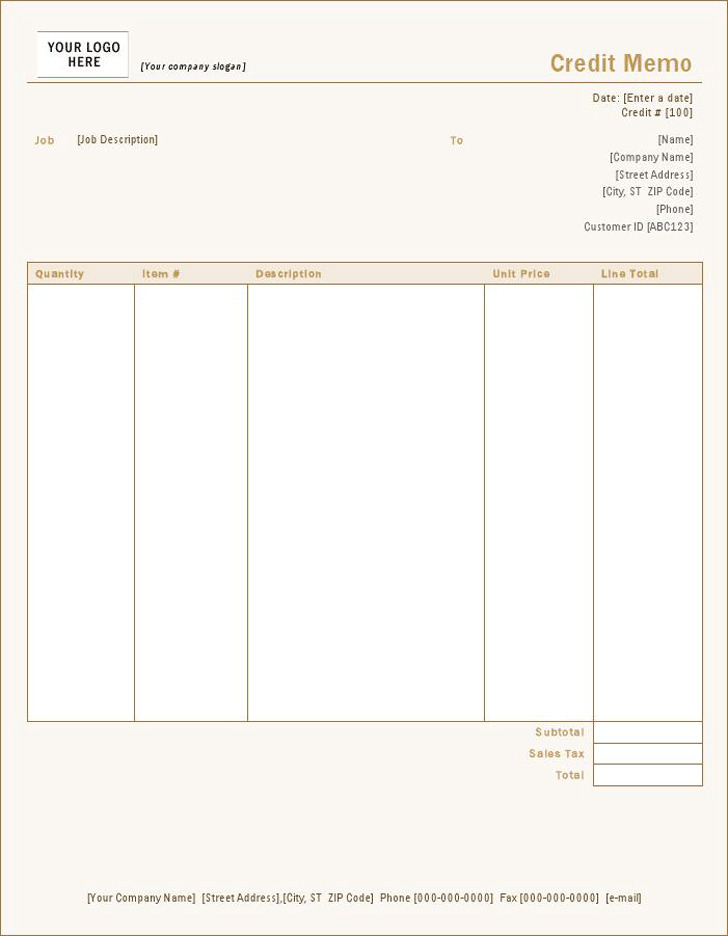 Credit Memo Letter Credit Note Authorisation Form Template Free