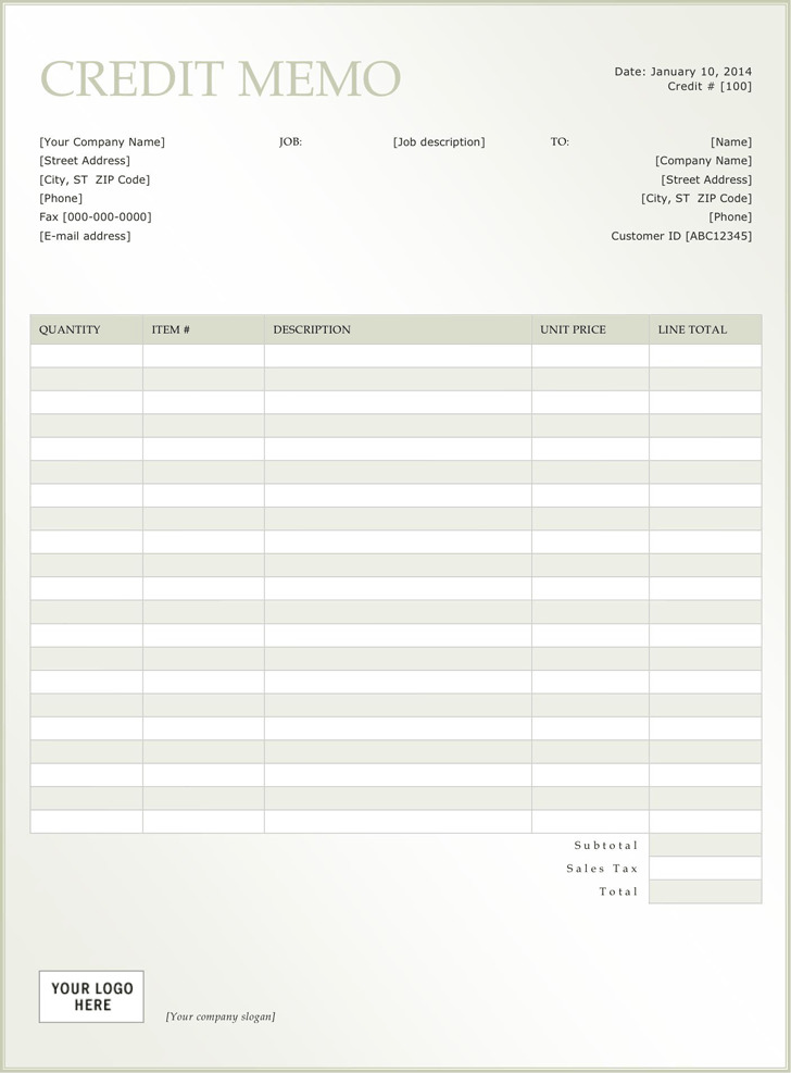 Credit Memo Template – Credit Memo Sample