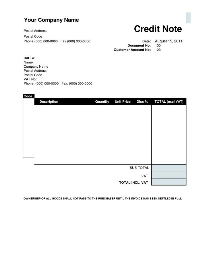 Credit Note Template  Download Free  Premium Templates Forms