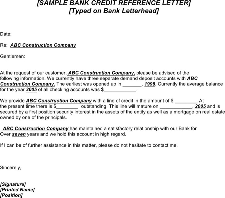 credit reference letter template for businesses