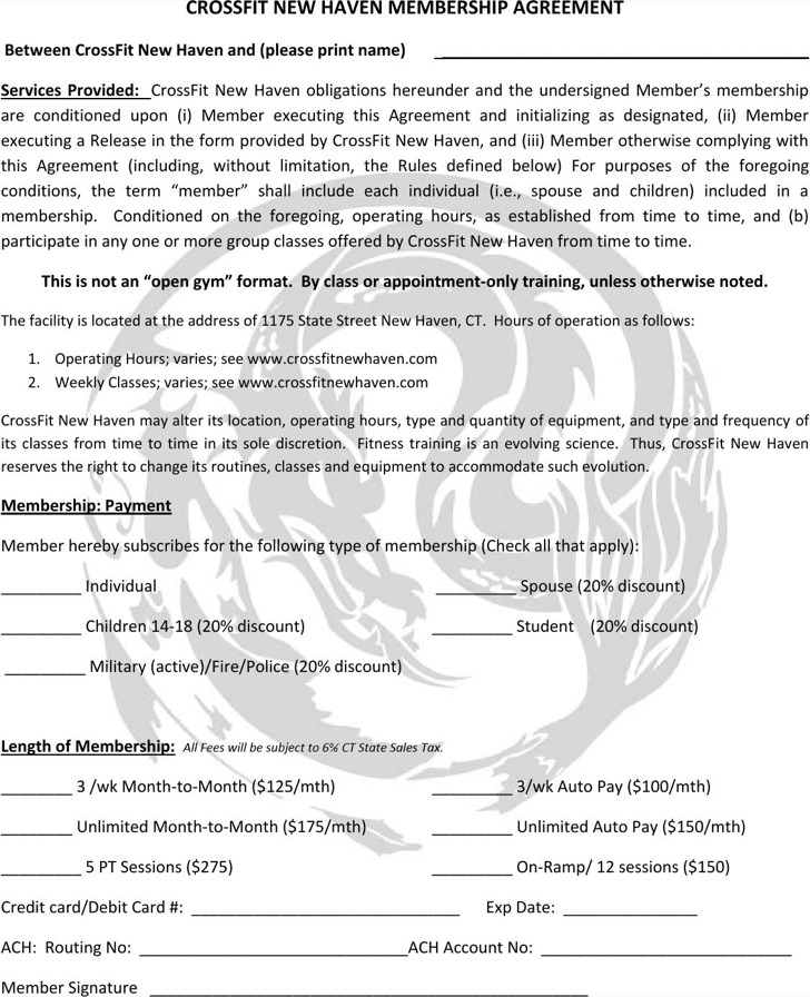 Crossfit Gym Contract Template Pdf Printable For Free