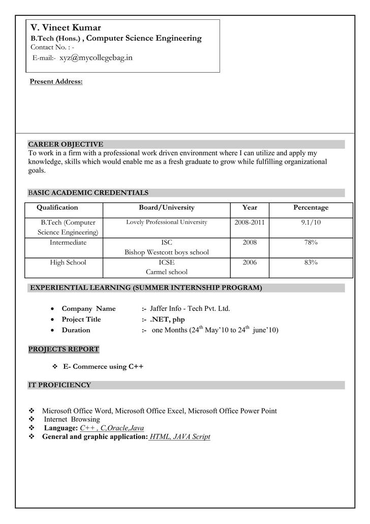 CSE Engineer CV Format Template