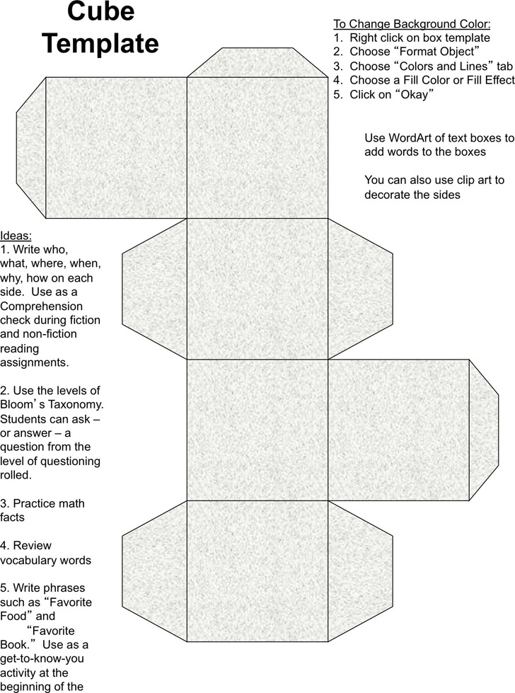 Cube Template For Teachers