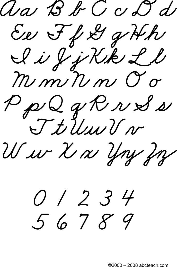 Cursive Letters Chart 3