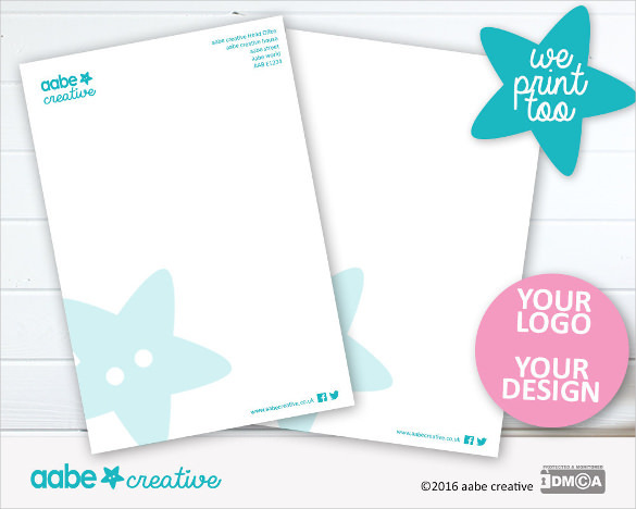 Custom Letterhead Design & Continuation Sheet Sample Template