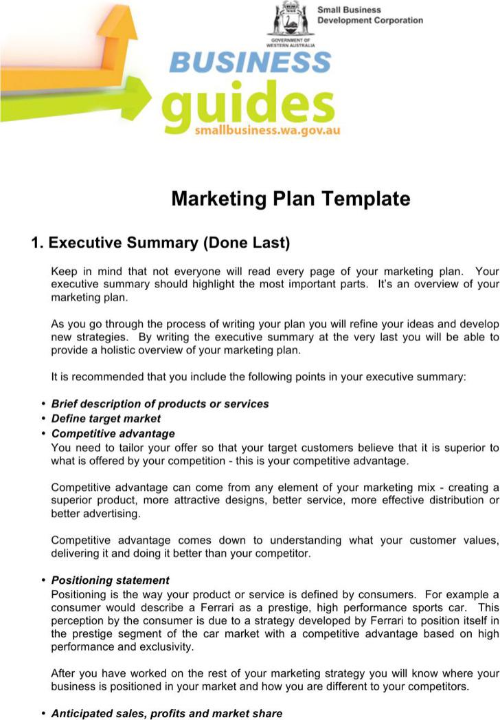 Customer Analysis Marketing Plan Template