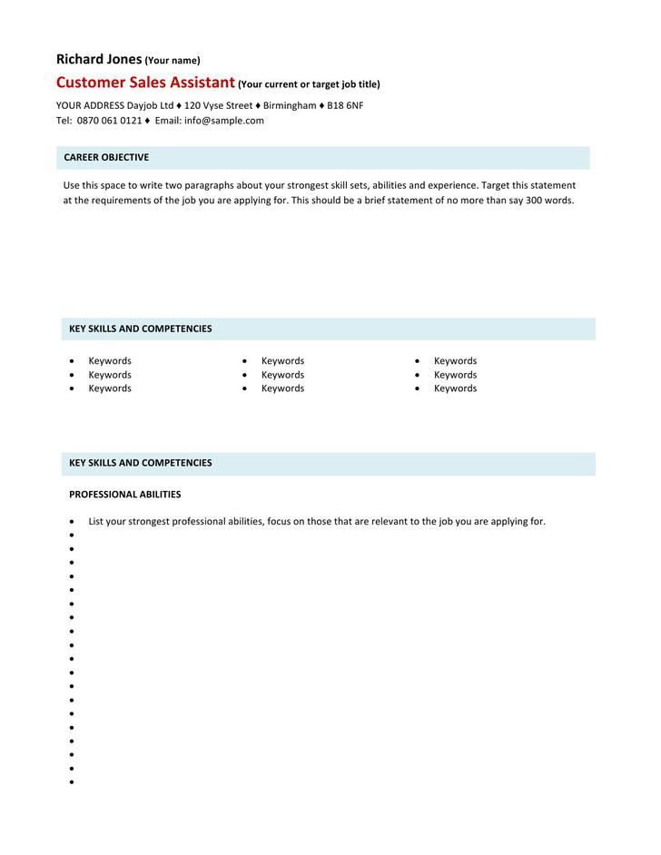 Customer Sales Assistant CV Template