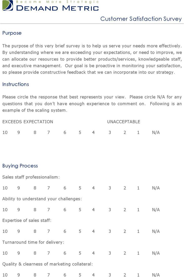 Sample Client Satisfaction Survey Templates