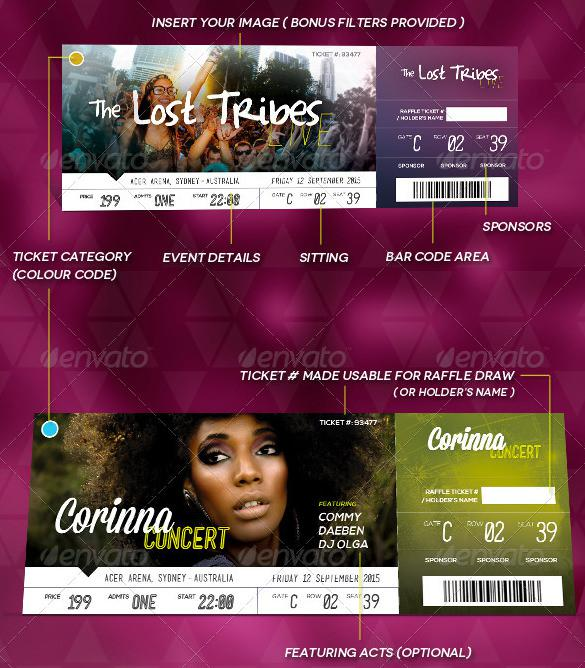Customisable PSD Design Event Ticket Template Download