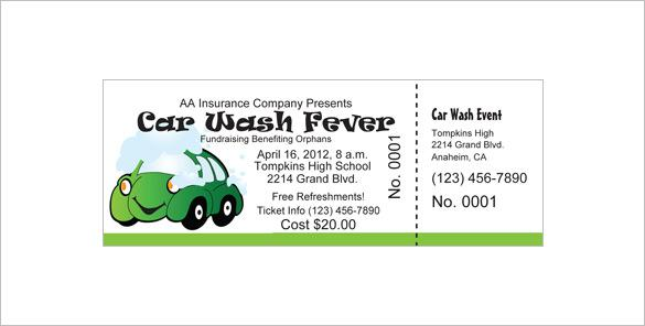 Customizable Car Wash Ticket Free Download  Fundraiser Ticket Template Free Download