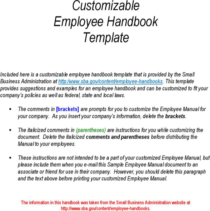 Sample Employee Handbook  Manual Templates  Download Free