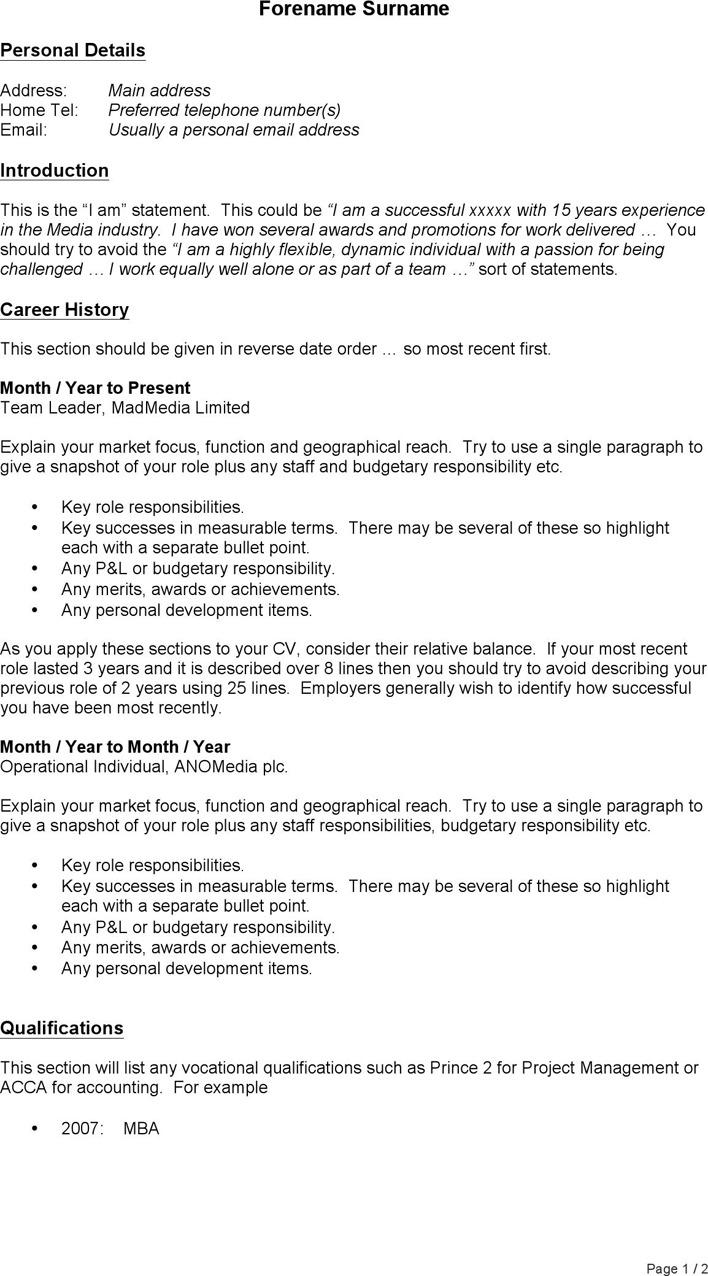 3+ General CV Template Free Download