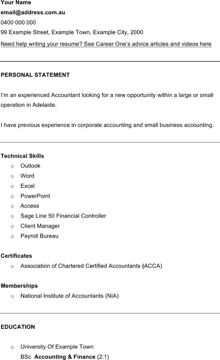 Cv Template Finance Financial Accountant