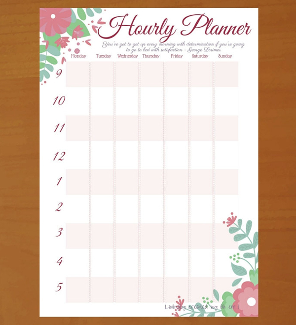 Hourly Schedule Template  Hourly Schedule Template   Free