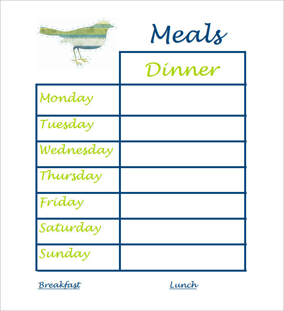 Daily Dinner Schedule Template PDF Format