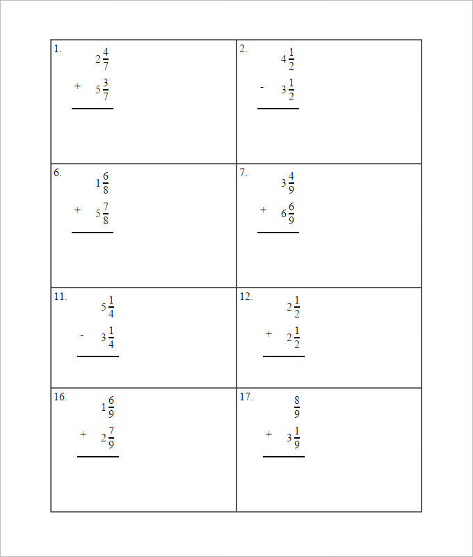 Sample Adding Fractions Worksheet Templates | Download Free