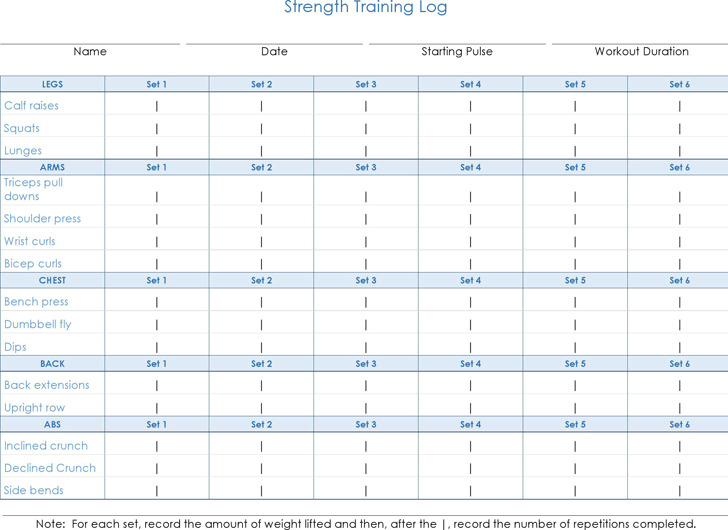 Workout Log Template  Download Free  Premium Templates Forms