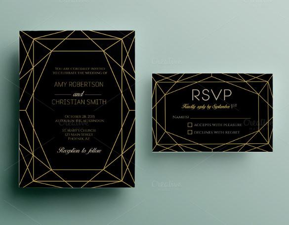 Dark Background Wedding Invitation Template For Download