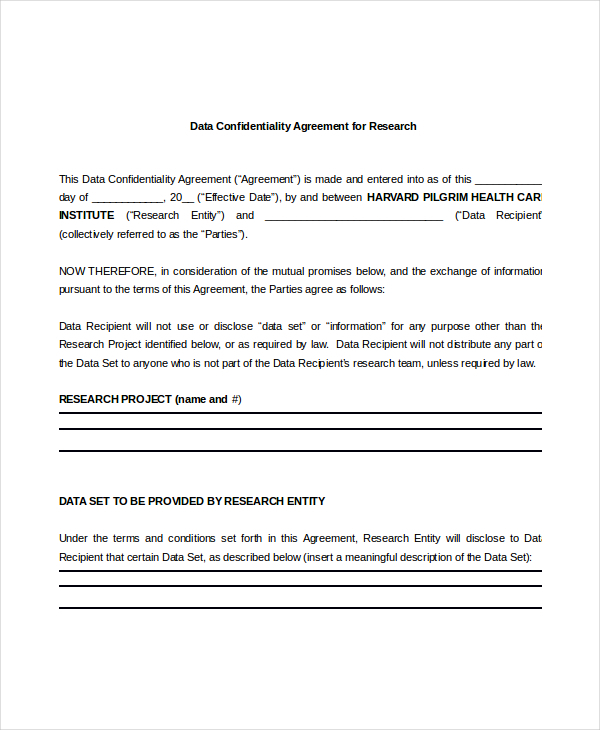 Data Confidentiality Agreement  Download Free  Premium Templates