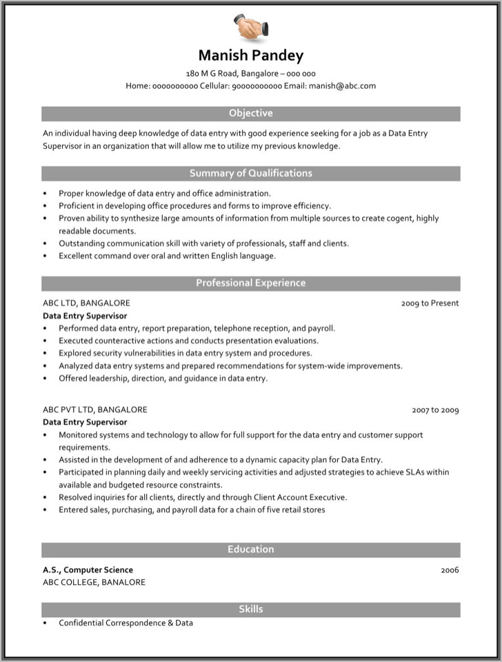 data entry supervisor resume 1 copy. click here to download this ...