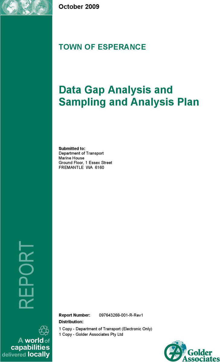 Data Gap Analysis Plan