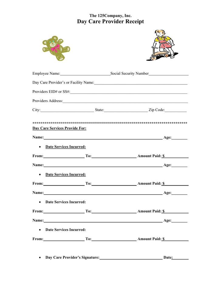 Day Care Provider Receipt PDF Template