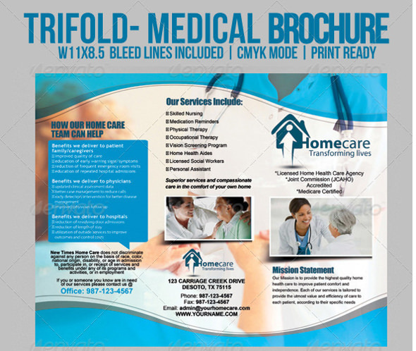 Day Care Trifold Medical Brochure Template PSD Design