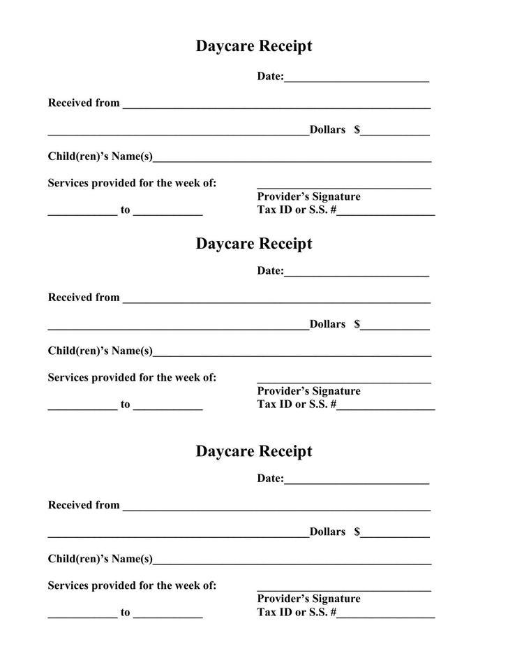 Daycare Receipt PDF Template