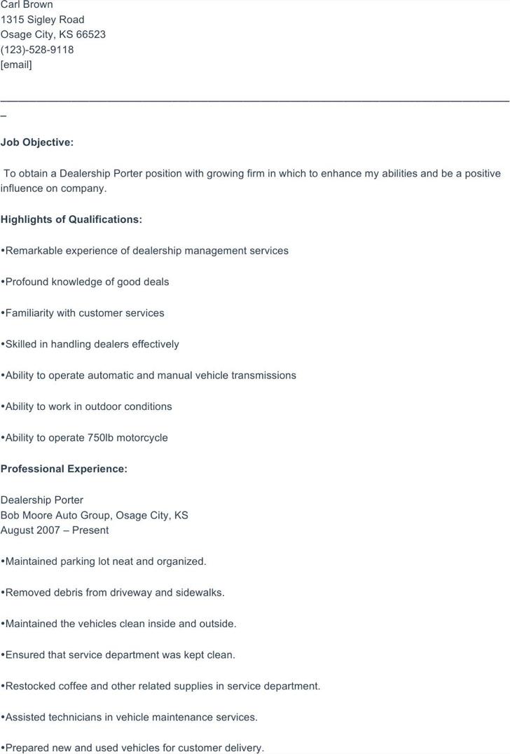 porter resume templates free premium