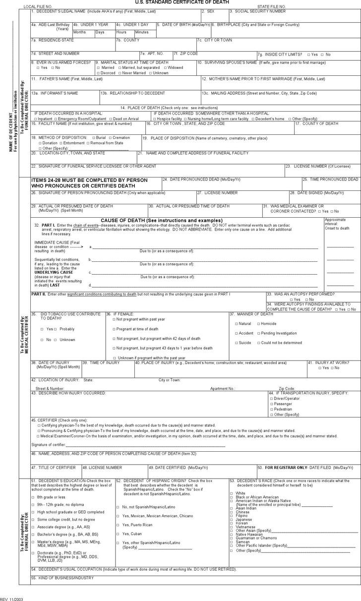 Death Certificate Template | Download Free & Premium Templates ...