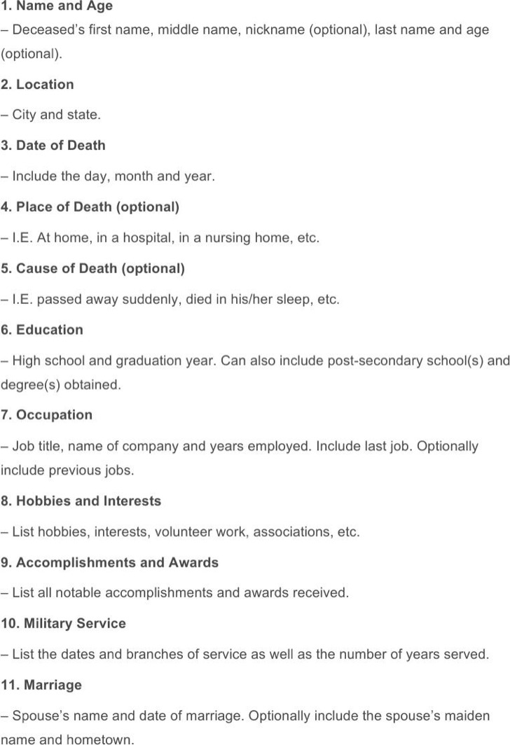Death Notice Free Word Download