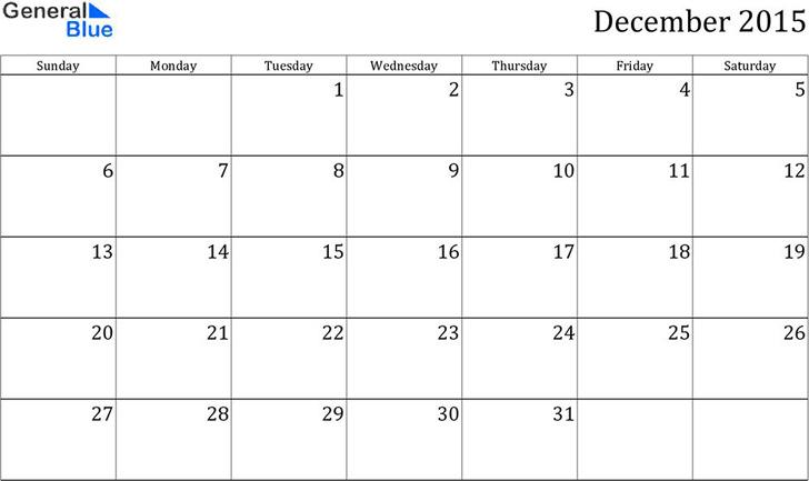 December 2015 Calendar 2