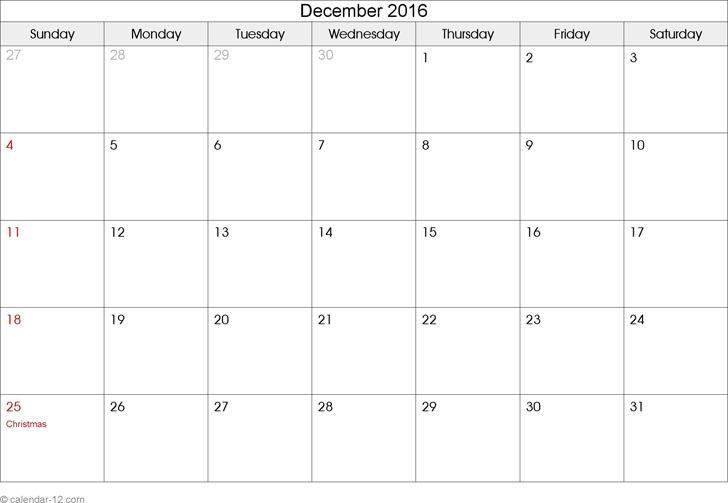 December 2016 Calendar 2