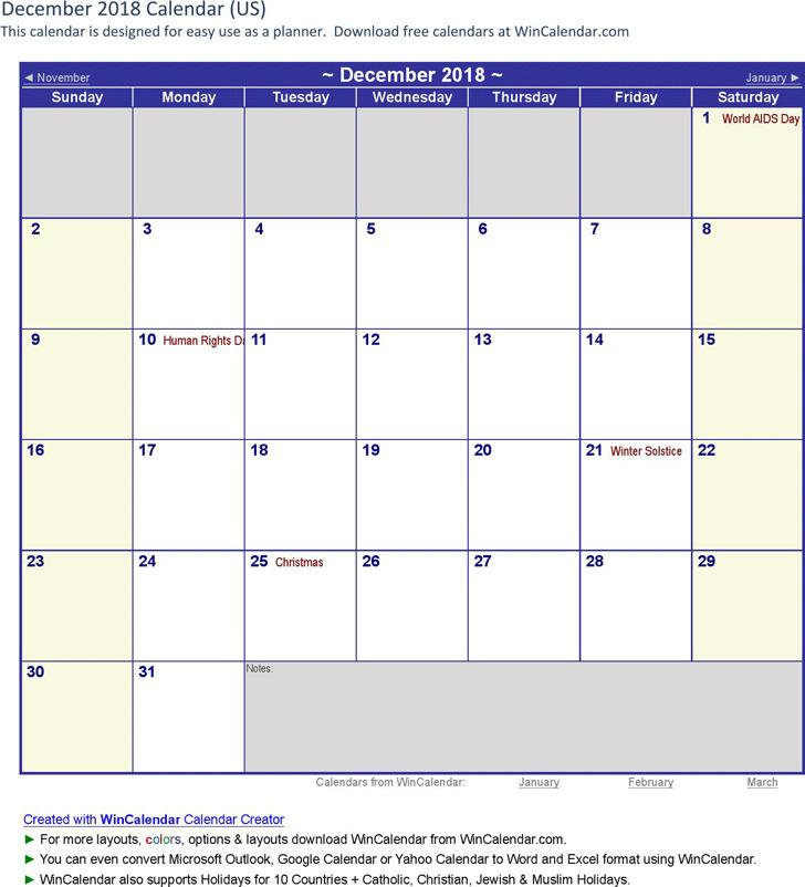 December 2018 Calendar 2