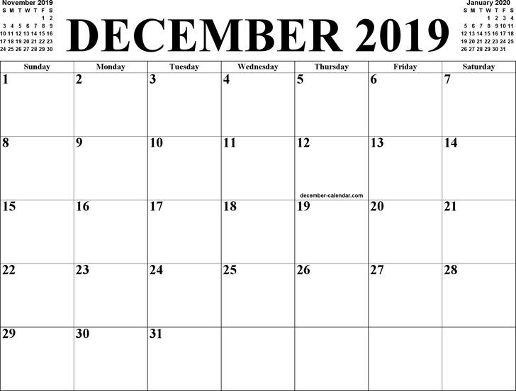 December 2019 Calendar 2