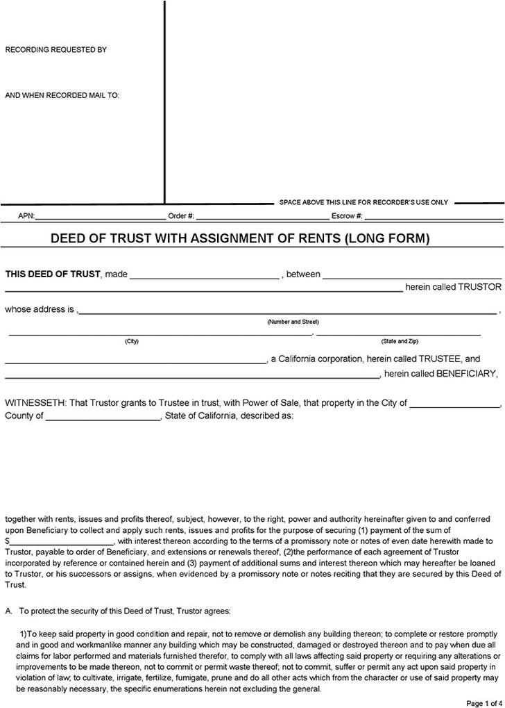 Sample Deed Of Trust Form Residential Deed Of Trust Form Deed Of
