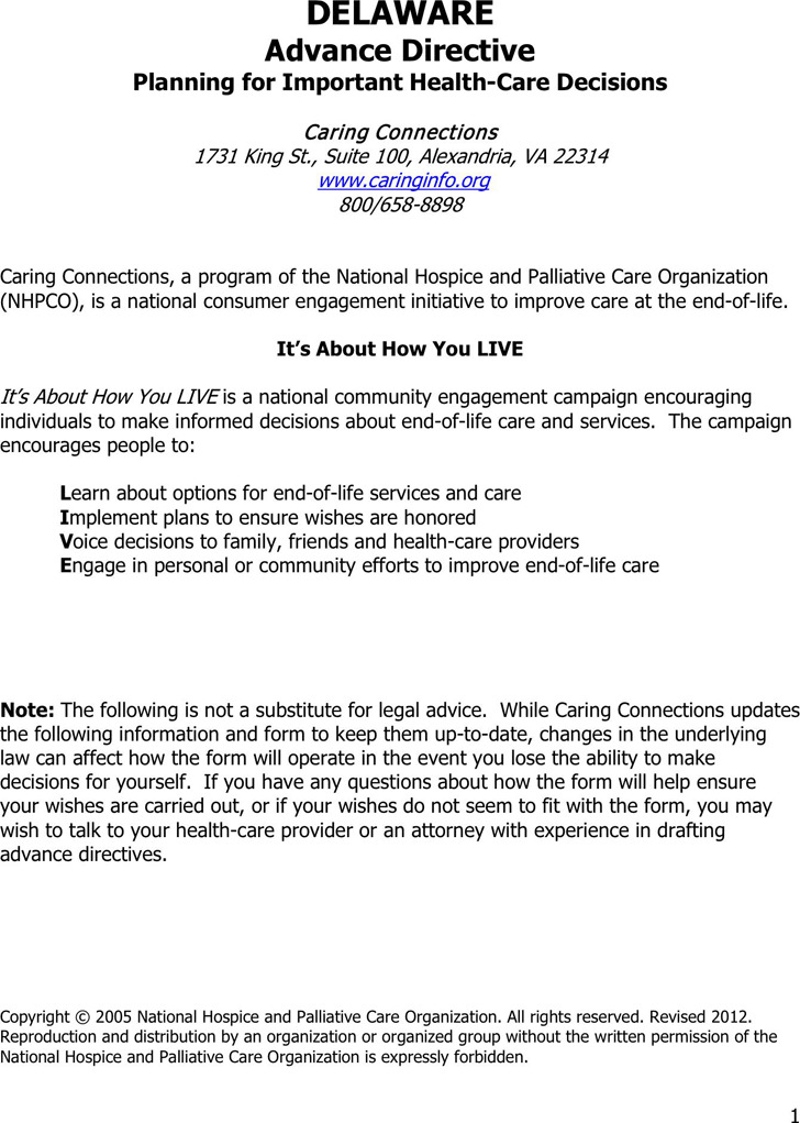 Delaware Advance Health Care Directive Form 1