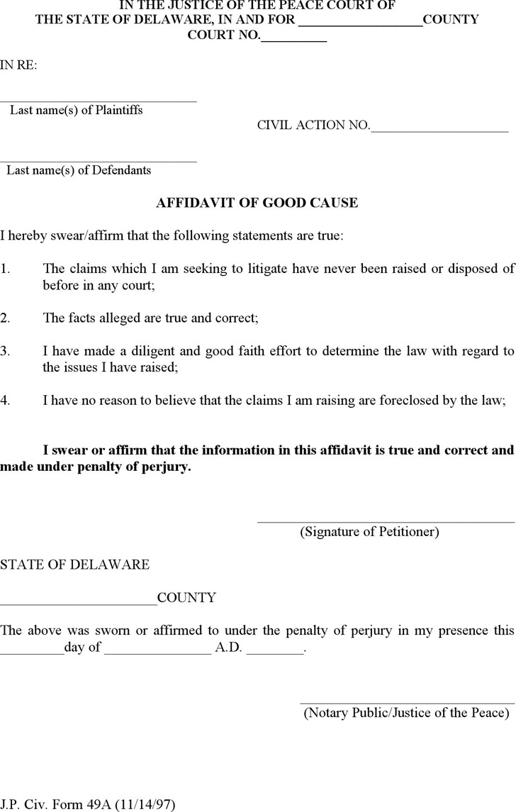 Delaware Affidavit of Good Cause Form