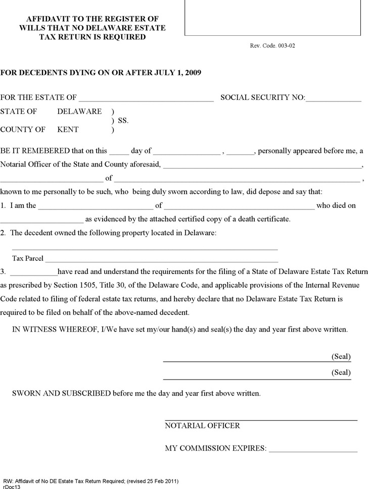 Delaware Affidavit to the Register of Wills That No Estate Tax Return Is Required Form
