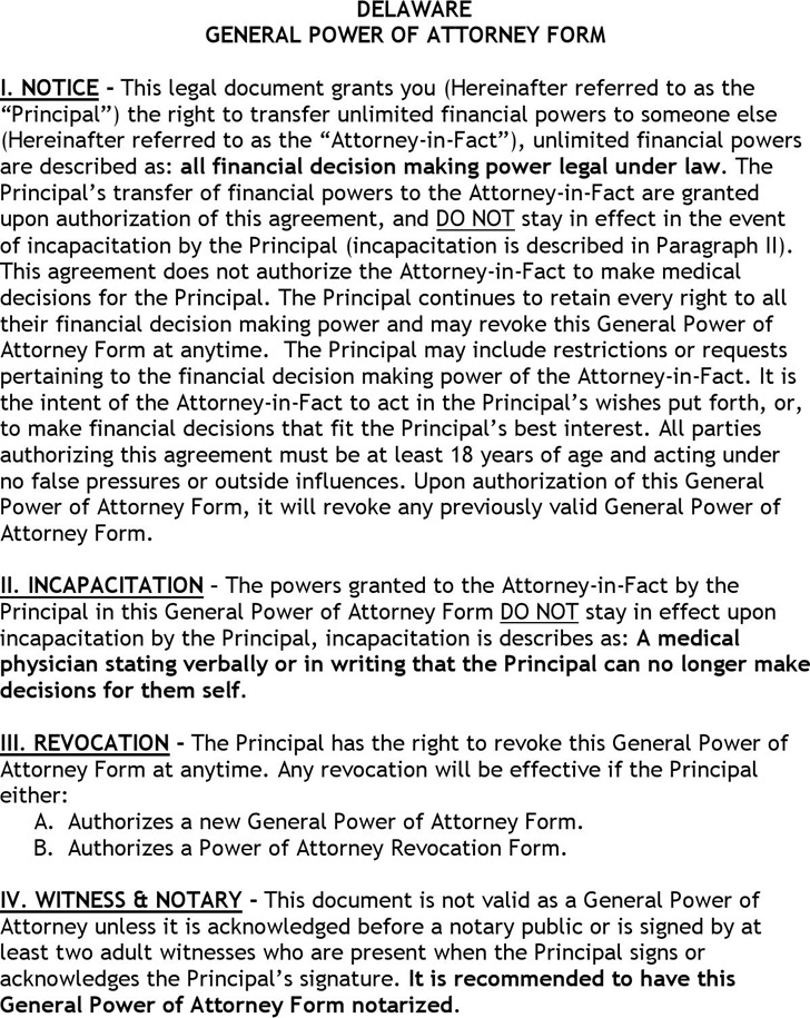 Delaware General Power of Attorney Form
