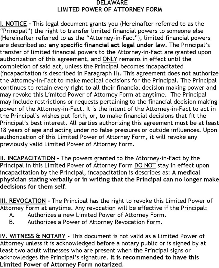 Delaware Limited Power of Attorney Form