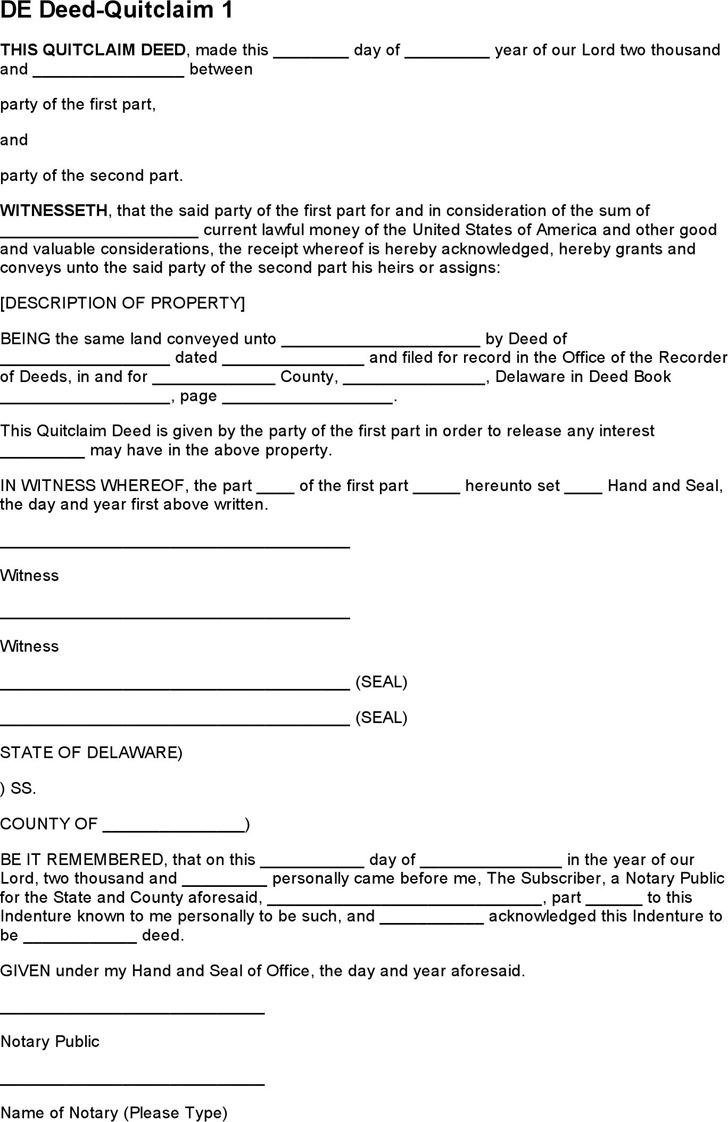 Delaware Quitclaim Deed Form