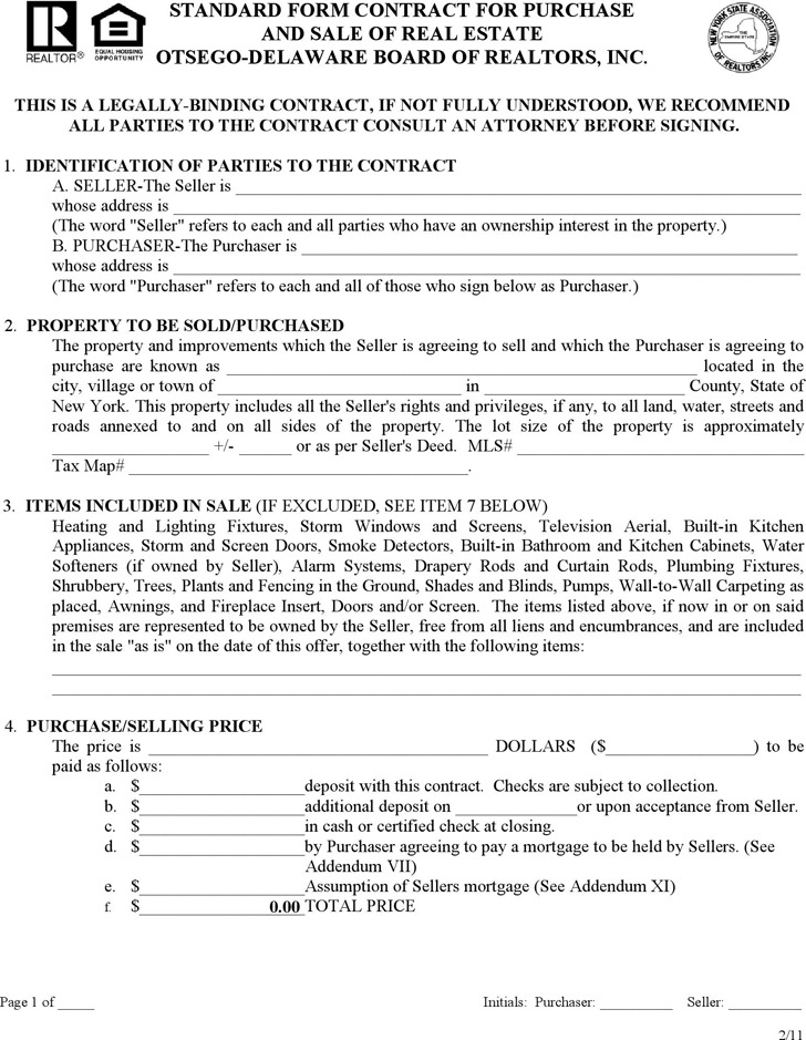 Delaware Standard Form Contract for Purchase and Sale of Real Estate