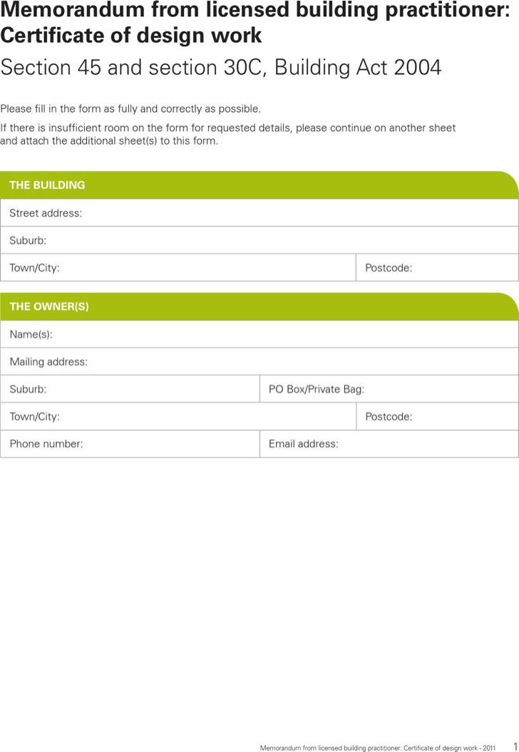 Design Work Certificate Template