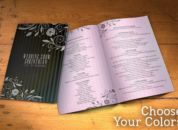 Designed Wedding Program Template Download